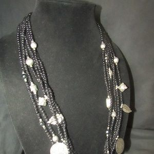 Jewelry - Vintage black beaded necklace w/silver charms